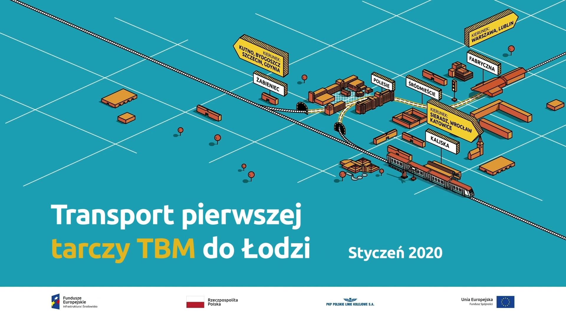 Transport pierwszej tarczy TBM do Łodzi - kadr z filmu